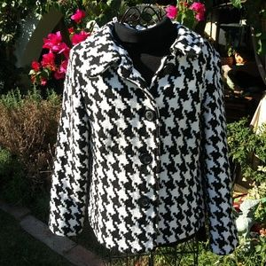 Briggs New York Black and White Houndstooth Jacket